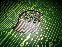 Business concept: Head With Finance Symbol on circuit board background Stock Photography