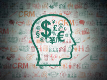 Business concept: Head With Finance Symbol on Royalty Free Stock Images