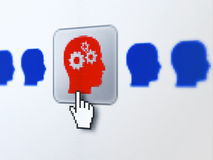 Business concept: Head With Gears on digital. Business concept: pixelated Head With Gears icon on button with Hand cursor on digital computer screen, selected Royalty Free Stock Photography