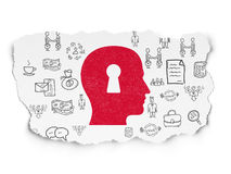 Business concept: Head With Keyhole on Torn Paper background. Business concept: Painted red Head With Keyhole icon on Torn Paper background with  Hand Drawn Stock Image