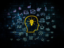 Business concept: Head With Lightbulb on Digital. Business concept: Pixelated yellow Head With Lightbulb icon on Digital background with  Hand Drawn Business Royalty Free Stock Photography