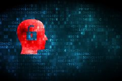 Business concept: Head With Padlock on digital background. Business concept: pixelated Head With Padlock icon on digital background, empty copyspace for card Royalty Free Stock Photos