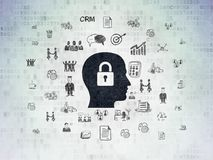 Business concept: Head With Padlock on Digital Data Paper background. Business concept: Painted black Head With Padlock icon on Digital Data Paper background Stock Photos