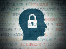 Business concept: Head With Padlock on Digital Data Paper background. Business concept: Painted blue Head With Padlock icon on Digital Data Paper background with Royalty Free Stock Photo