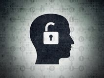 Business concept: Head With Padlock on Digital Data Paper background. Business concept: Painted black Head With Padlock icon on Digital Data Paper background Royalty Free Stock Photography