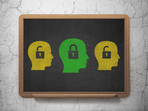 Business concept: head with padlock icon on School. Business concept: row of Painted yellow head with padlock icons around green head with padlock icon on School Stock Photo