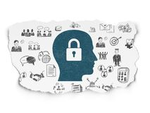Business concept: Head With Padlock on Torn Paper background. Business concept: Painted blue Head With Padlock icon on Torn Paper background with  Hand Drawn Royalty Free Stock Images