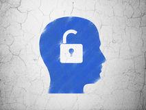Business concept: Head With Padlock on wall. Business concept: Blue Head With Padlock on textured concrete wall background, 3d render Stock Photo