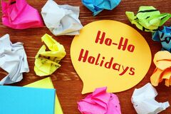Business concept about Ho-Ho-Holidays with sign on the page