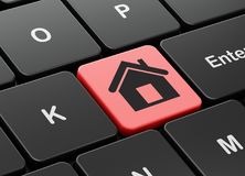 Business concept: Home on computer keyboard background Stock Images