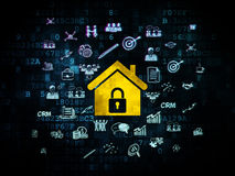 Business concept: Home on Digital background. Business concept: Pixelated yellow Home icon on Digital background with  Hand Drawn Business Icons, 3d render Stock Photography