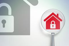 Business concept:  Home with optical glass on digital background. Business concept: magnifying optical glass with Home icon on digital background, empty Stock Photo