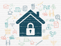 Business concept: Home on wall background. Business concept: Painted blue Home icon on White Brick wall background with Scheme Of Hand Drawn Business Icons, 3d Stock Image