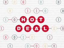 Business concept: Hot Deal on wall background. Business concept: Painted red text Hot Deal on White Brick wall background with Binary Code Stock Image