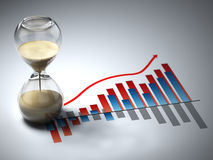 Business concept. Hourglass and graph. Stock Photography