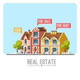Business concept with houses. Real estate. Traditional architecture. Flat vector illustration 3d style Stock Images