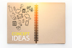 Business concept and icon drawing on sketch book Royalty Free Stock Images