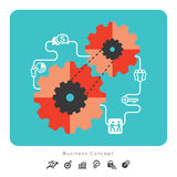 Business Concept Icons with Gear Illustration Royalty Free Stock Photography