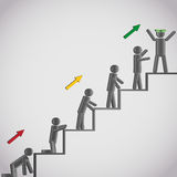 Business concept, icons men on staircase Stock Images