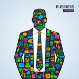Business concept icons person. Businessman person business concept with finance marketing development icons vector illustration Royalty Free Stock Photos
