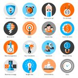 Business Concept Icons Set. With idea protection time is money brainstorm isolated vector illustration Royalty Free Stock Photos