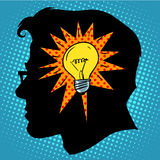 Business concept idea light bulb head. Pop art retro style Royalty Free Stock Photography