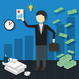 Business concept idea. Business concept with people and money. Vector illustration royalty free illustration