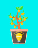 Business concept idea is profitable. lightbulb idea sign in a pot with money tree. Idea make money. Vector flat cartoon Royalty Free Stock Image