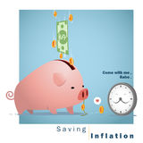 Business concept Idea  Saving and Inflation Royalty Free Stock Photo