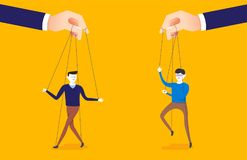 Business concept illustration of big hand and a businessman being controlled by puppet master. royalty free illustration