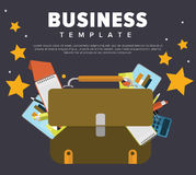 Business concept illustration. Business concept with briefcase and documents. Flat Vector Illustration Stock Photo