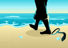 Businessman Walking On Beach. Business concept illustration of a businessman with barefoot walking on the beach Stock Photography