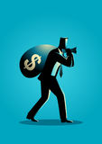 Businessman carrying a money bag on his shoulder. Business concept illustration of a businessman carrying a money bag on his shoulder. Bonus, earn, profit, bring Stock Image