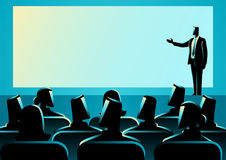 Businessman giving a presentation on big screen. Business concept illustration of businessman giving a presentation on big screen. Audience, seminar, conference royalty free illustration