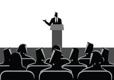Man Giving A Speech On Stage. Business concept illustration of businessman giving a speech on stage. Audience, seminar, conference theme Royalty Free Stock Photography