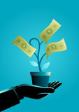 Businessman hand holding a pot with money tree. Business concept illustration of a businessman hand holding a pot with money tree, business, savings, investment Royalty Free Stock Photos