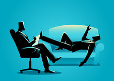 Businessman having a therapy with psychologist. Business concept illustration of a businessman having a therapy with psychologist Stock Image