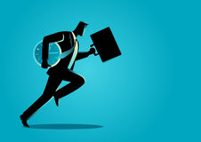 Businessman running with briefcase and clock. Business concept illustration of a businessman running with briefcase and clock, business energetic, dynamic and vector illustration