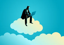 Businessman sits on cloud. Business concept illustration of a businessman sits on cloud working with laptop computer Royalty Free Stock Photos