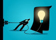 Businessman trying to unplug the light bulb brain. Business concept illustration of a businessman trying to unplug the light bulb brain, sabotage, killing Stock Photo