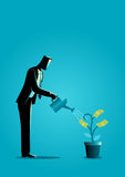 Businessman watering young plant with dollar leaves. Business concept illustration of a businessman watering young plant with dollar leaves. Investment, business Royalty Free Stock Photos