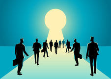 Businessmen walking into keyhole with bright light. Business concept illustration of businessmen walking into keyhole with bright light royalty free illustration