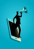 Business concept illustration for digital marketing. Business concept illustration of a businessman holding a megaphone coming through from smart phone. Digital Royalty Free Stock Photography