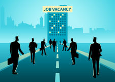 Business concept illustration for job vacancy. Business concept illustration of crowd of people walking to a building with job vacancy sign board on top of it royalty free illustration