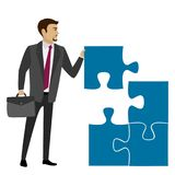 Business concept illustration. Business concept with piece of the puzzle. Vector illustration Stock Images