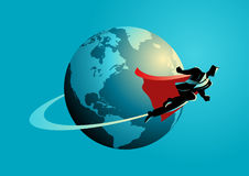 Businessman flying around the world. Business concept illustration of a super businessman flying around the world, going global, go international concept Royalty Free Stock Image
