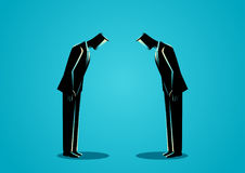 Businessmen bowing to each other. Business concept illustration of a two businessmen bowing to each other, Japanese business etiquette Royalty Free Stock Photo