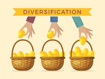 Business concept illustrations of diversification. Golden eggs in different baskets. Vector diversification business, golden eggs in basket vector illustration