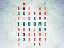 Business concept: Income in Crossword Puzzle. Business concept: Painted green word Income in solving Crossword Puzzle on Digital Data Paper background Royalty Free Stock Images