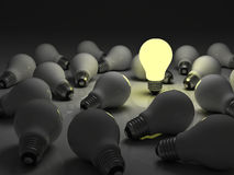 The business concept and individuality concept. One glowing light bulb standing out from the unlit incandescent bulbs with reflection , The business concept and Stock Photography